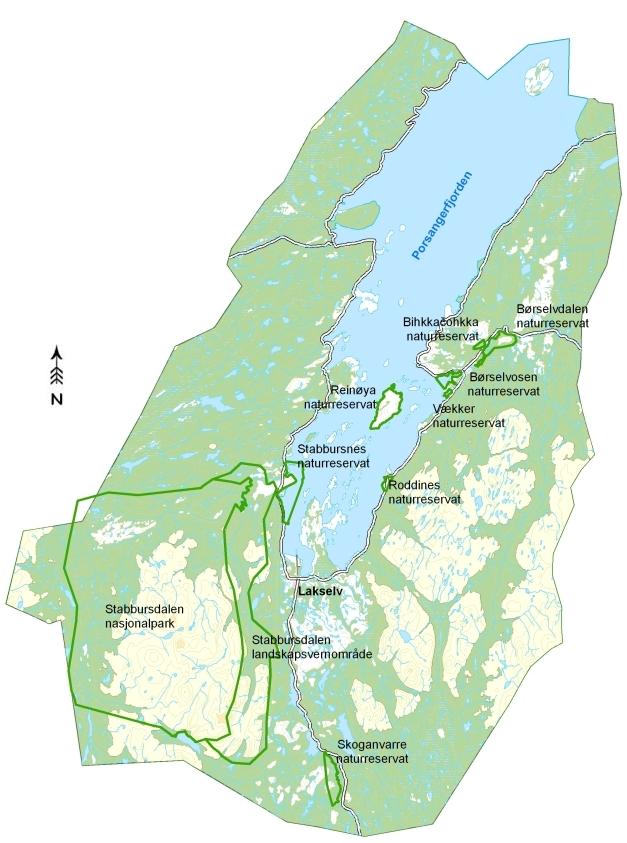 kart over porsanger Vernområder i Porsanger kart over porsanger
